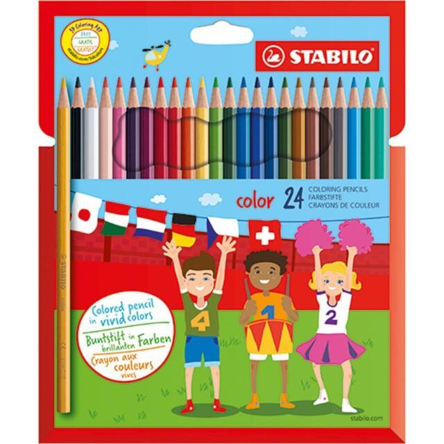 Stabilo Crayons de Coloriage - Inclus Couleurs Néon - 1924/77-01 - Porte-Feuille