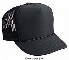 BLANK Solid Black Mesh Snap Back Cap Trucker Mesh Hat