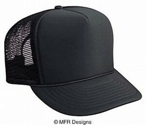 12ae72ff8d39ad Image is loading BLANK-Solid-Black-Mesh-Snap-Back-Cap-Trucker-