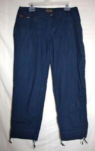 Abercrombie-Fitch-Capris-Adjustable-Long-Pants-A-F-Cotton-Cropped-Women-XS