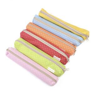 New-Kawaii-Stationery-Bag-Candy-Dot-Canvas-Zipper-Pencil-Case-School-Supplie-Hot