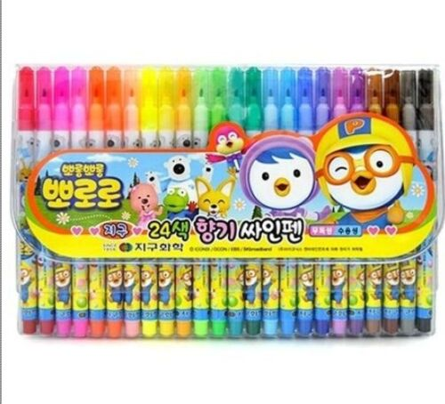 Pororo 24 Colors Felt Tip Pens Set Magic Marker aqueous pen Nontoxic Kids Crafts