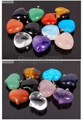 Natural Gemstone Heart Reiki Chakra Healing Pendant Beads For Necklace Earrings
