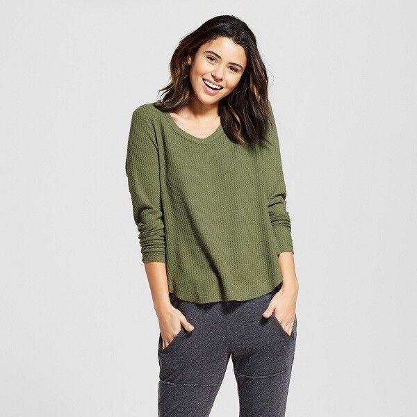 Xhilaration Long Sleeve Sleep Shirt, Thermal - Green
