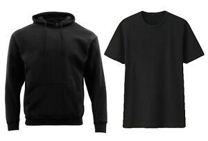 Adult-Mens-Unisex-Plain-Black-Hoodie-Jumper-Pullover-Black-T-Shirt