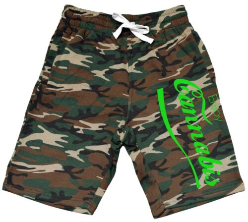 Men/'s Enjoy Cannabis Fleece Camo Shorts Sweatpants Jogger Kush Marijuana V364