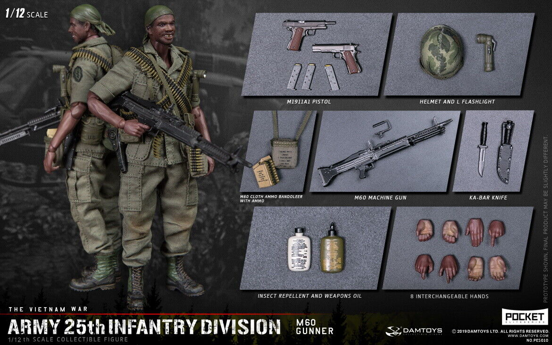 1 12 DAMTOYS PES010ARMY 25th Infantry Division M60 Gunner Figure Set
