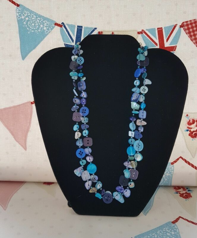Button And Shell Necklace Blue Handmade