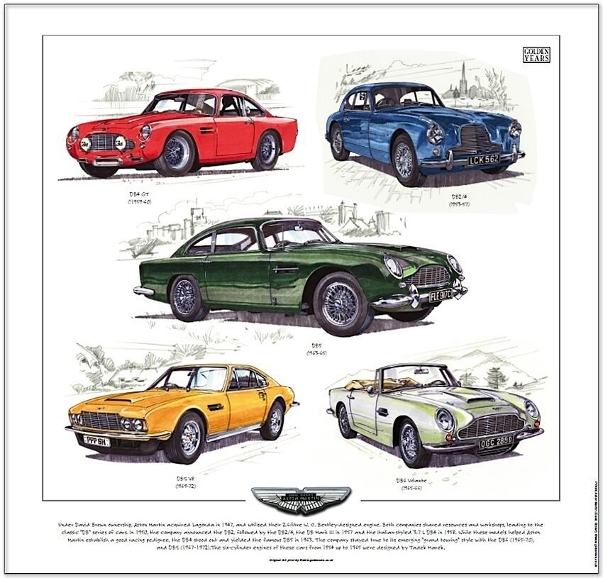 Aston Martin David Brown Kunstdruck Db2 4 Db4 Gt Db5 Dbs V8 Db6 Volante Ebay