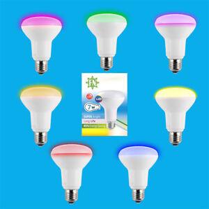 6x-7w-LED-R80-De-Color-Reflector-Disco-Bombilla-Foco-ES-E27-Lampara-Rosca