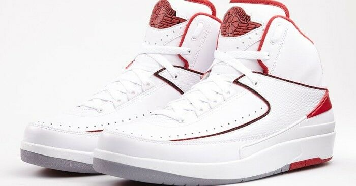 2014 Nike Air Jordan 2 II Retro White Red Size 9. 385475-102 1 3 4 5 6 8 9