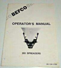Befco 203 Spreader Seeder Operators Parts Manual Catalog Book 293