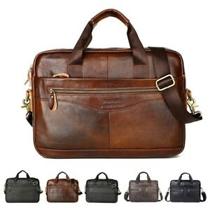 c1fe30c8fe92 Image is loading Men-Genuine-Oil-Leather-Handbag-Business-Briefcase- Messenger-