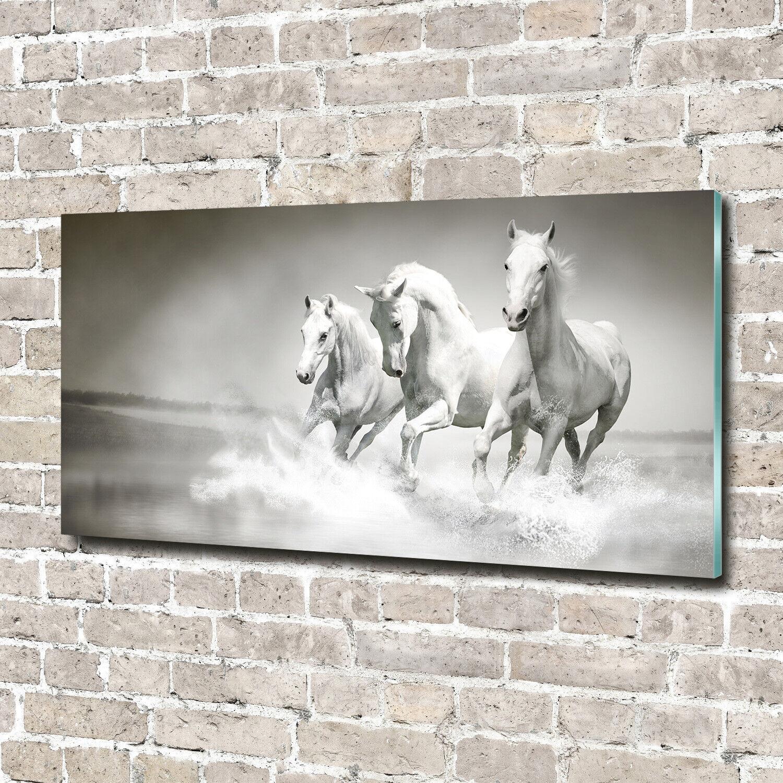 Acrylglas-Bild Wandbilder Druck 140x70 Deko Tiere Weiße Pferde