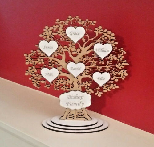 #14 Free Delivery Personalised Freestanding Wooden Family Tree Wedding POISON