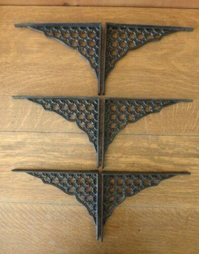 "SET OF 6 BROWN SHELF BRACKETS 9/"" ANTIQUE-STYLE RUSTIC CAST IRON GARDEN LATTICE"