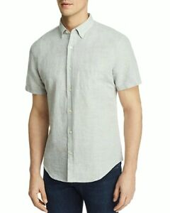 NEW $98 BLOOMINGDALE/'S MENS GRAY AGAVE GREEN 100/% LINEN BUTTON DOWN SHIRT