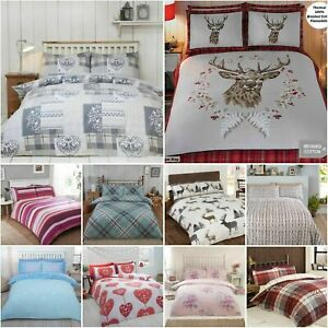 100-Brushed-Cotton-Flannelette-Reversible-Duvet-Quilt-Cover-Bedding-30-Designs