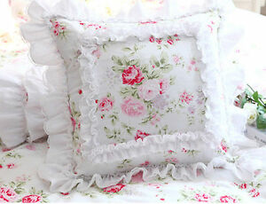 Princess-Girl-White-Pillow-Cushion-Cover-Lace-French-Country-Cottage-Shabby-Chic