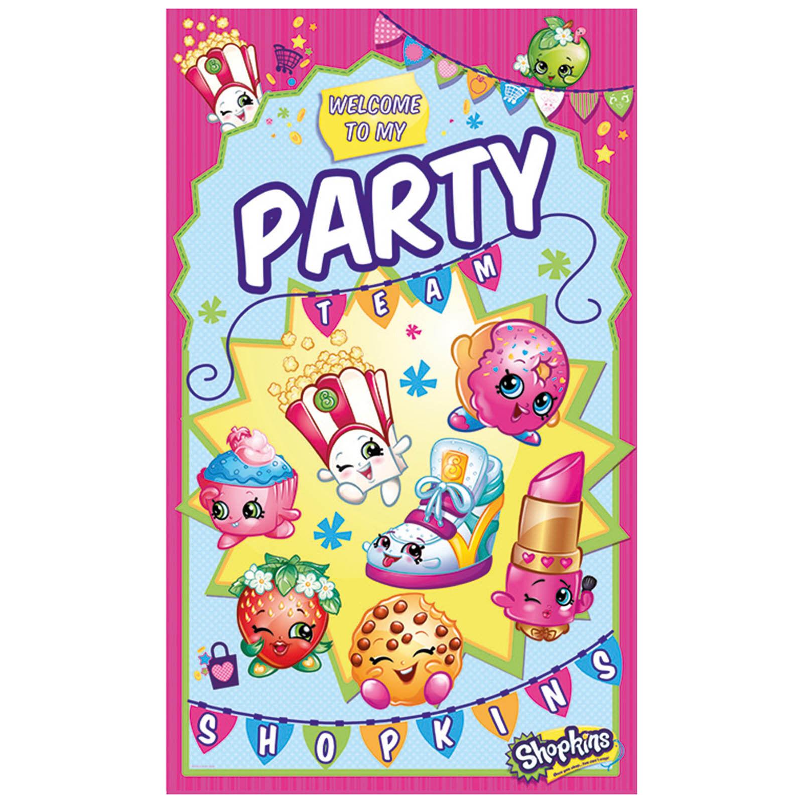 Shopkins Birthday Banner Shopkins Party Banner: Shopkins Toys Children's Birthday Party Door Poster Banner