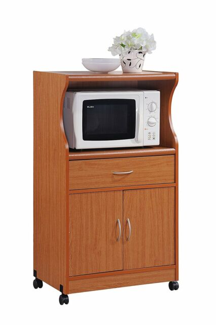 Kitchen Cabinet Storage Cherry Microwave Cart Stand Rolling Shelf Drawer  Island