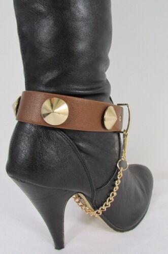 New Women Fashion Boot Shoe Strap Big Spikes Gold Silver Metal Chain Black Brown