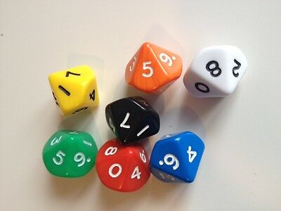 5 pack of D10 (10 sided) Poly Dice Roleplay - Games - Numeracy Maths (D085)