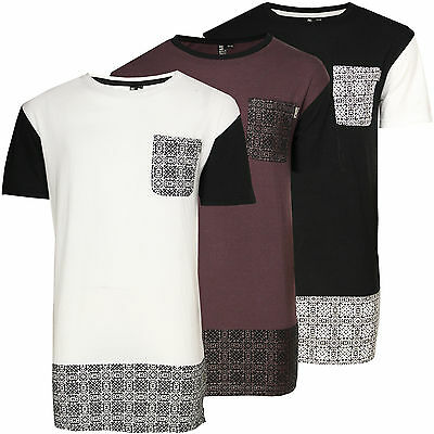 Mens Extra Longline T-Shirt Soulstar Mosaic Paisley Fashion Side Zip Jersey Top