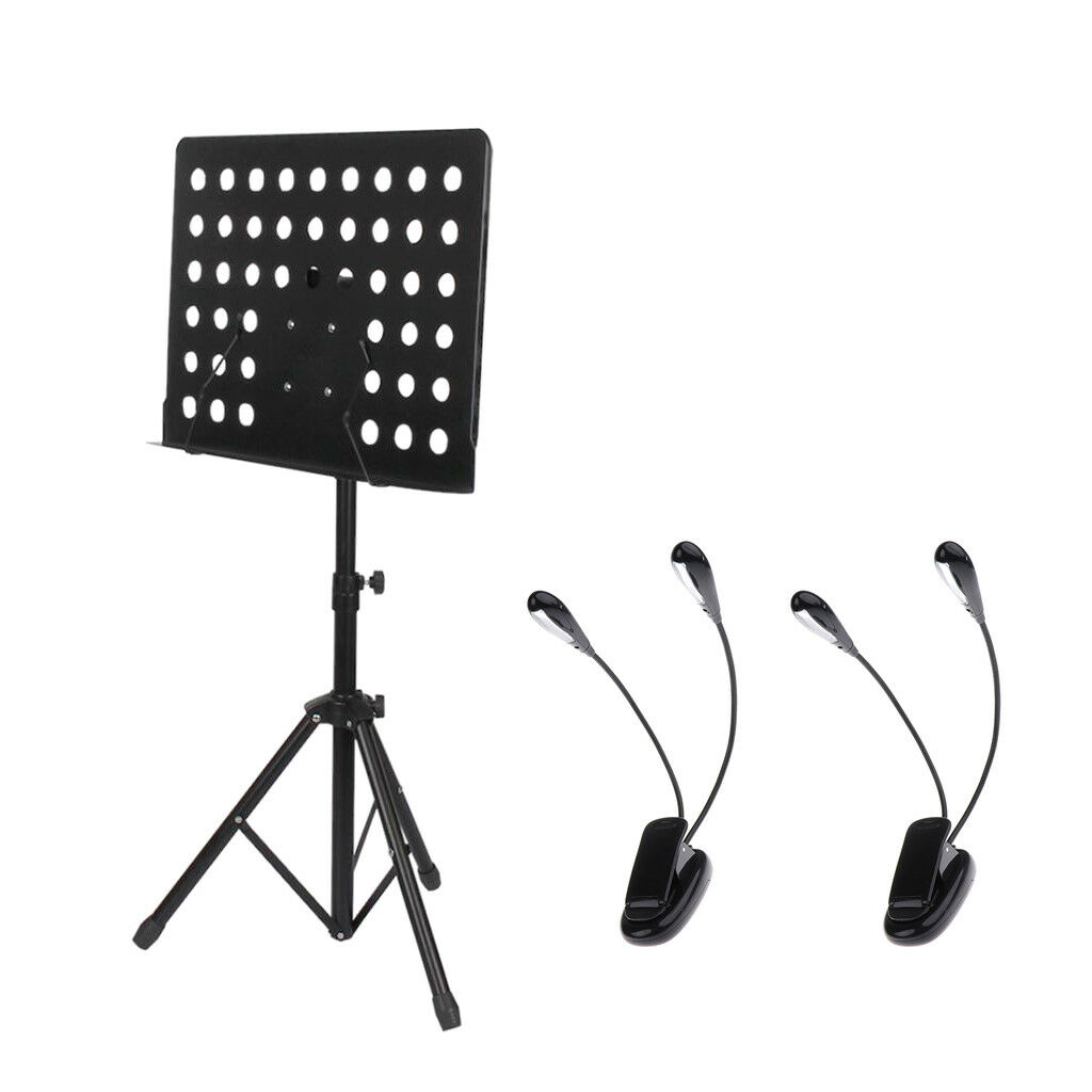 Adjustable Music Stand w  2x Clip-on Music Stand Lamps Practice Accessory