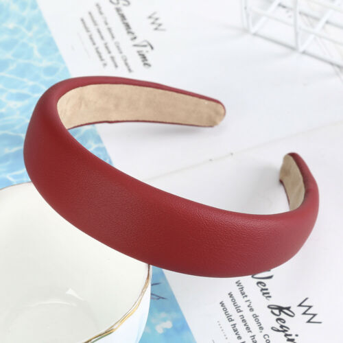 Women Solid Color Pu Leather Headband Hairband Hair Hoops Hair Accessories gift