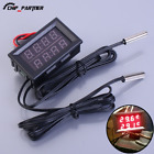 Dual Red Digital Display Thermometer LED Waterproof Temperature Sensor w/ Probe