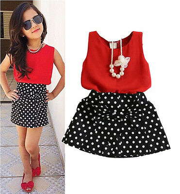 2015 Hot Chiffon Tops+Bowknot Dot Skirt Clothes Girls Baby Kids Outfits Set 2~7Y