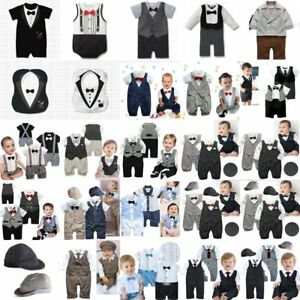 Baby Boy Wedding Christening Formal Suit Tuxedo Romper Outfit NEWBORN 0000 000-2