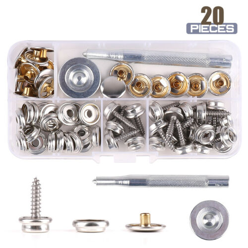 15mm Stainless Steel 62X Snap Fasteners Kit Press Stud Screw Canvas Tools