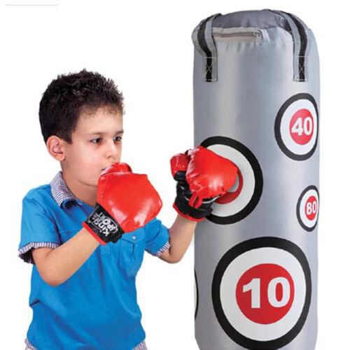 Sacco Da Boxe Con Suoni e Guantoni Pugile Per Bambini 57x18cm Grigio e Rosso