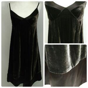GAP-Velvet-Babydoll-Dress-Womens-Size-0-Dark-Brown-Silk-Blend-Spaghetti-Strap