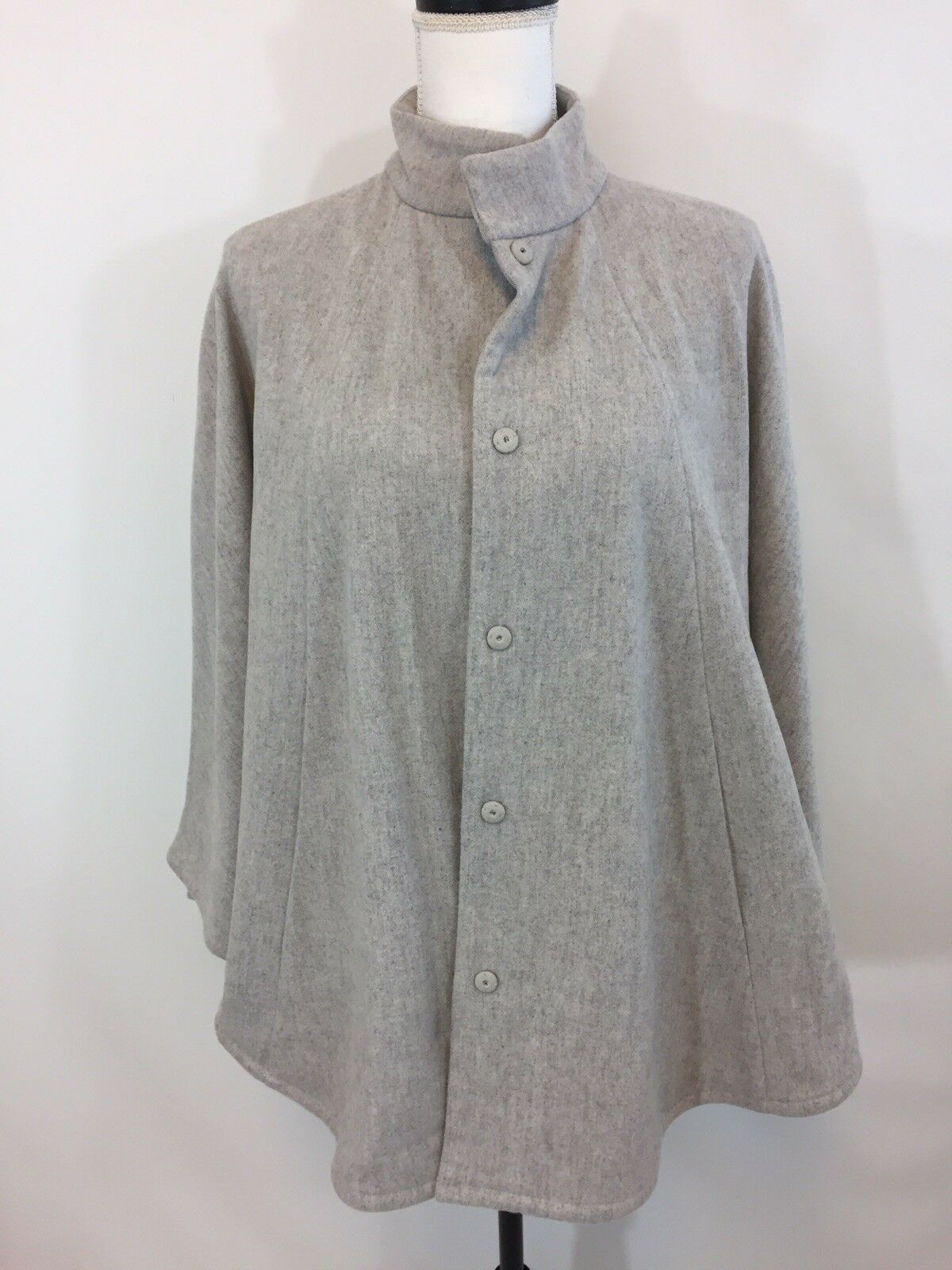NEW EILEEN FISHER WOMENS COTTON PONCHO COAT LIGHT GREY SZ S