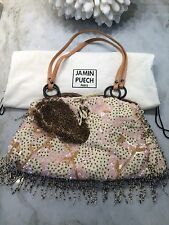 JAMIN PUECH PARIS HAND BEADED AND SEQUINED EVENING BAG IVORY PINK GOLD BROWN