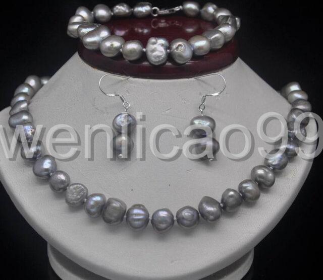 Noble 9-10mm Silver_gray Baroque Pearl Necklace*Bracelet *earring Jewellery Set