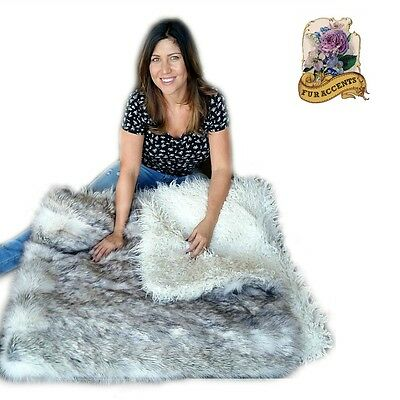 Thick Plush Russian Wolf Throw Blanket Faux Fur White / Black Tips Mongolian Fur