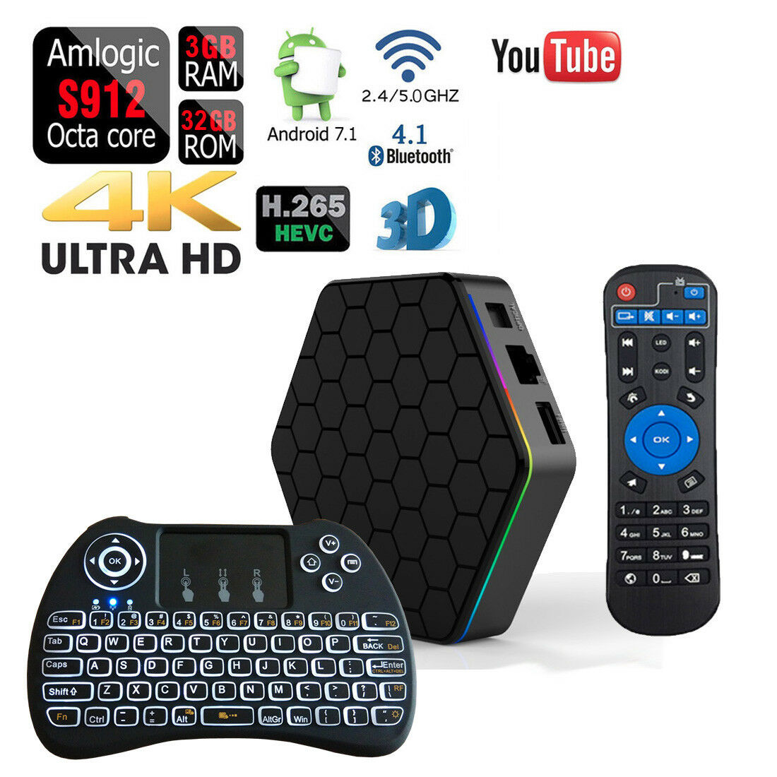 Android 7.1 T95Z PLUS 32GB/3GB Bluetooth Wifi TV Box+Backlight Wireless Keyboard Featured