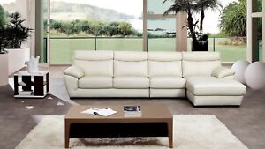 3 PC Modern White Italian Top Grain Leather Sectional Sofa Chaise ...