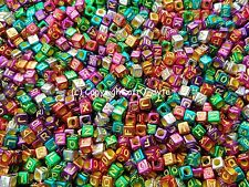 100 Metallic Alphabet Mixed Letters Cube Beads 6mm
