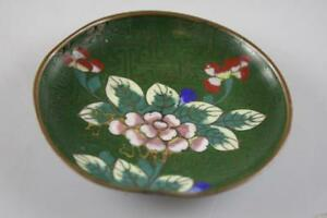 ANTIQUE-EARLY-20th-Century-CHINESE-CLOISONNE-FLORAL-MOTIF-SMALL-DISH