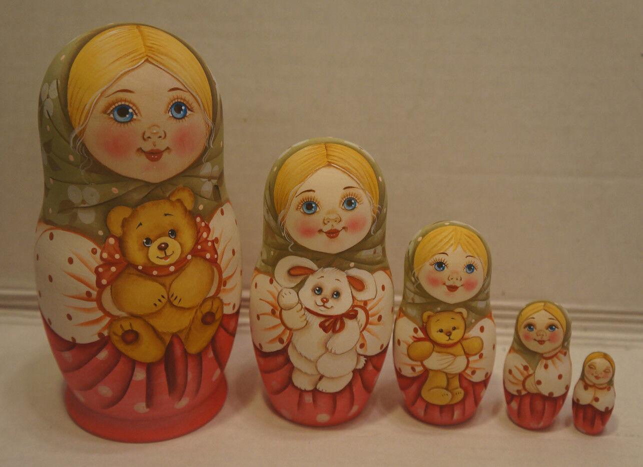 Russian Matryoshka - Wooden Nesting  bambolas - 5 Pieces Unique Coloreeeeing - Set  5  Garanzia di vestibilità al 100%