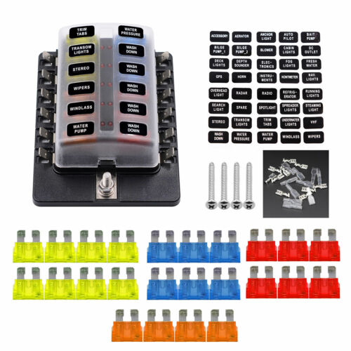 VETOMILE Car Automotive 1 in 12-way Fuse Box Holder 5A 10A 15A 20A Fuses Spade