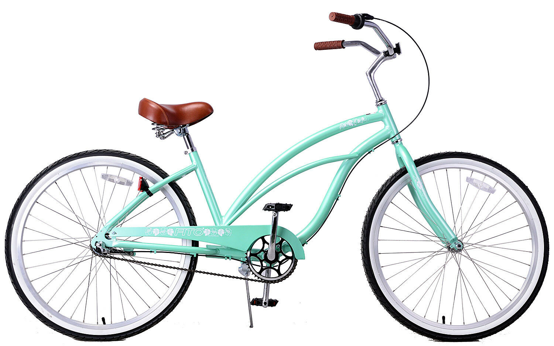 Fito Marina Alloy 3-speed Light Weight Woman's Beach Cruiser Bike - Mint Green