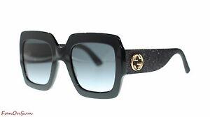 0de97dc7edb9 Image is loading Gucci-Women-Square-Sunglasses-GG0102S-001-Black-Grey-