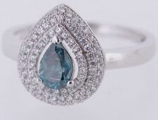 2.25 Ct Blue Pear Shape Diamond Wedding Halo Ring Solitaire 14K WG  for Women