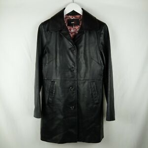 Studio-Y-Leather-Trench-Coat-Women-Size-M-Black